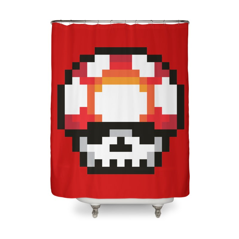 Pixel mushroom Home Shower Curtain by Steven Toang
