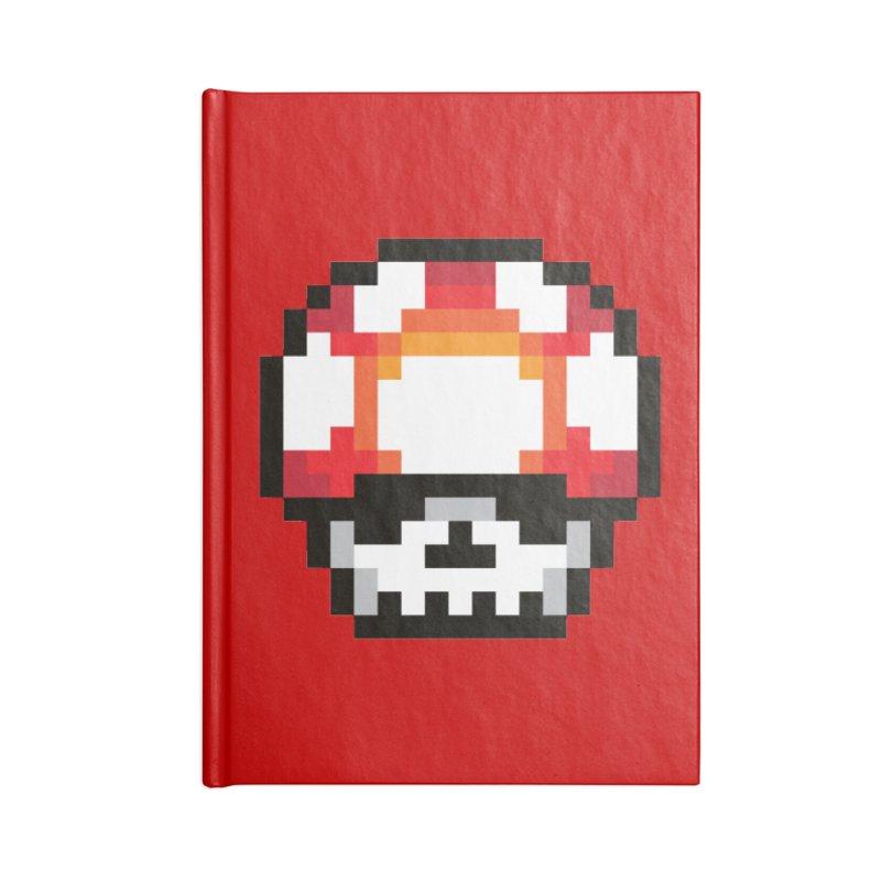 Pixel mushroom Accessories Blank Journal Notebook by Steven Toang