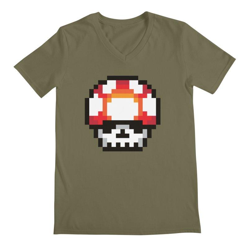 Pixel mushroom Men's V-Neck by Steven Toang