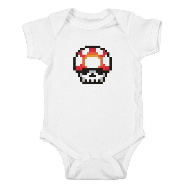 Pixel mushroom Kids Baby Bodysuit by Steven Toang