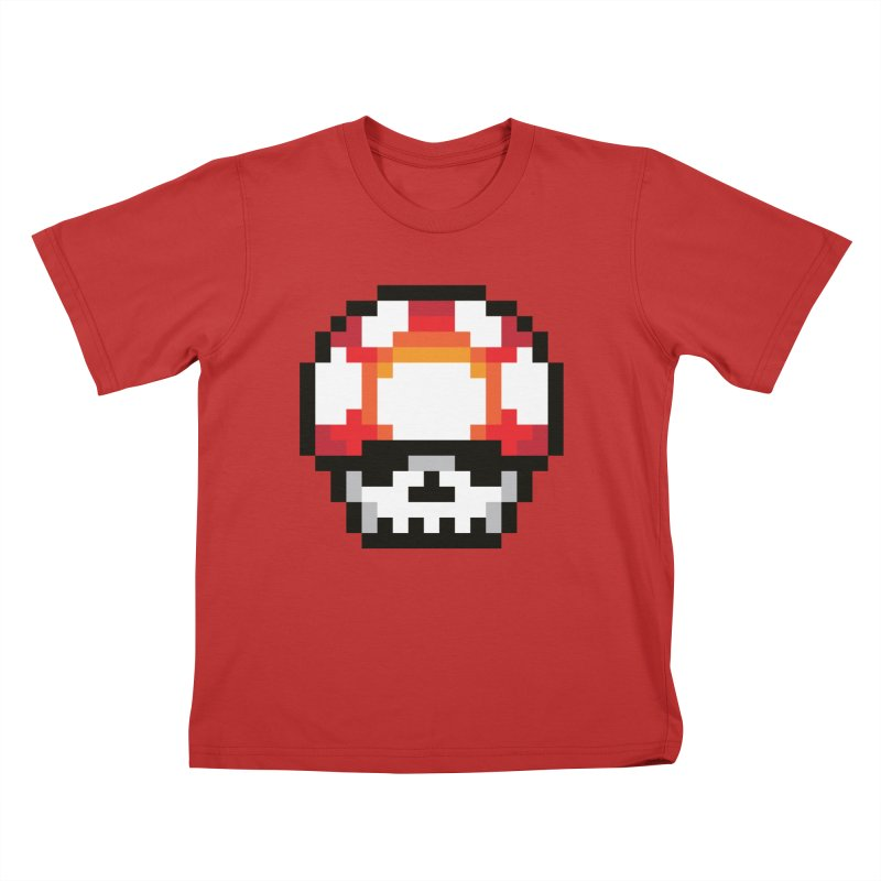 Pixel mushroom Kids T-Shirt by Steven Toang