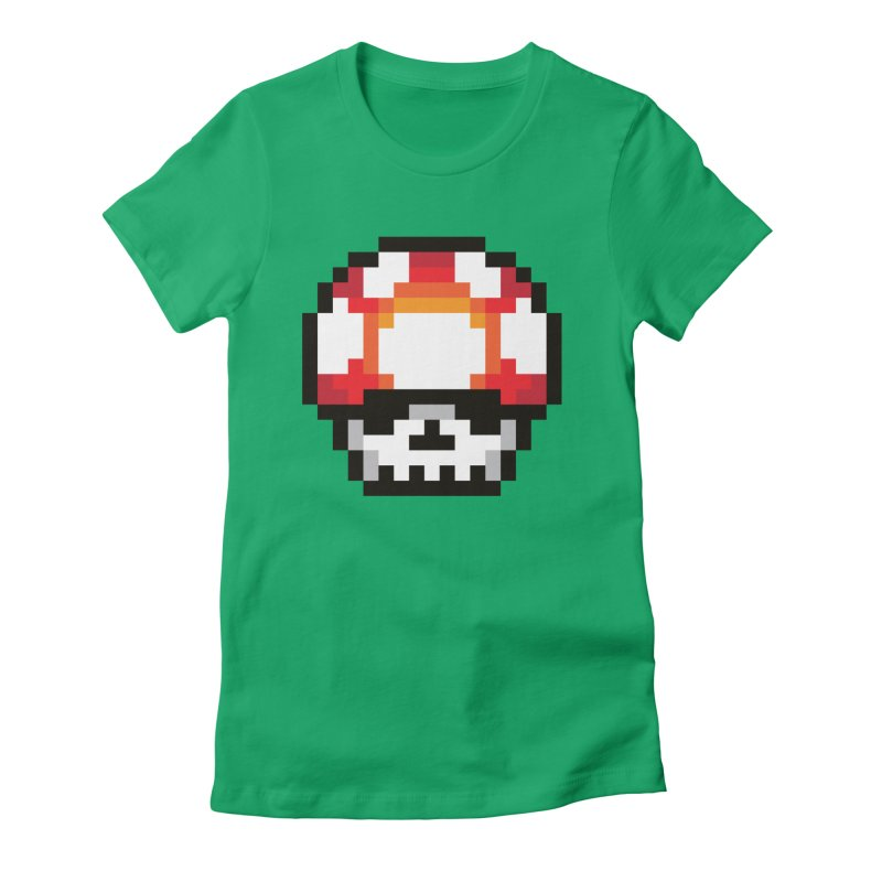 Pixel mushroom Women's Fitted T-Shirt by Steven Toang