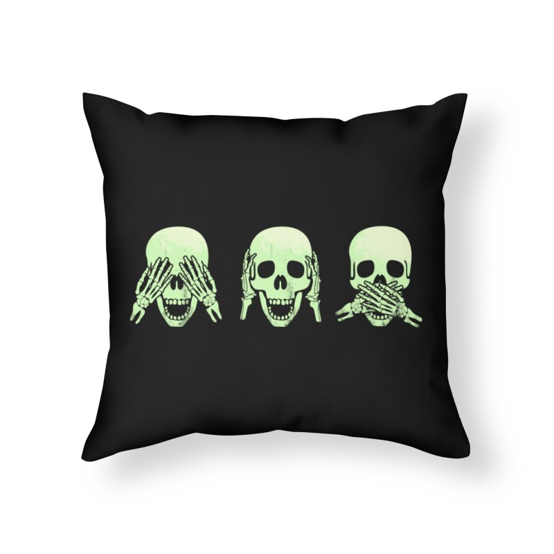 No evil skulls Home Throw Pillow by Steven Toang