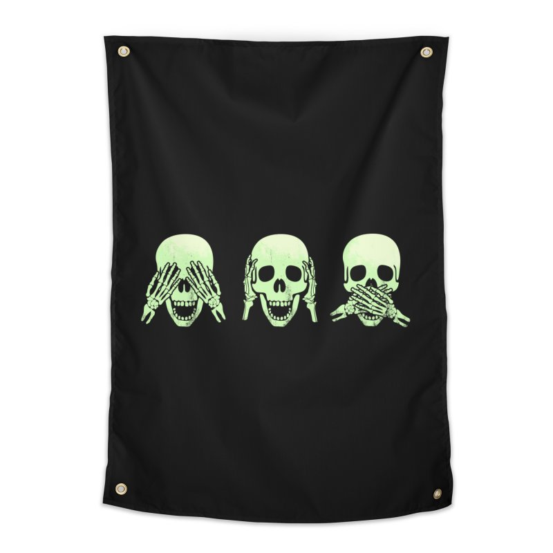 No evil skulls Home Tapestry by Steven Toang