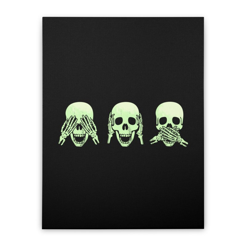 No evil skulls Home Stretched Canvas by Steven Toang