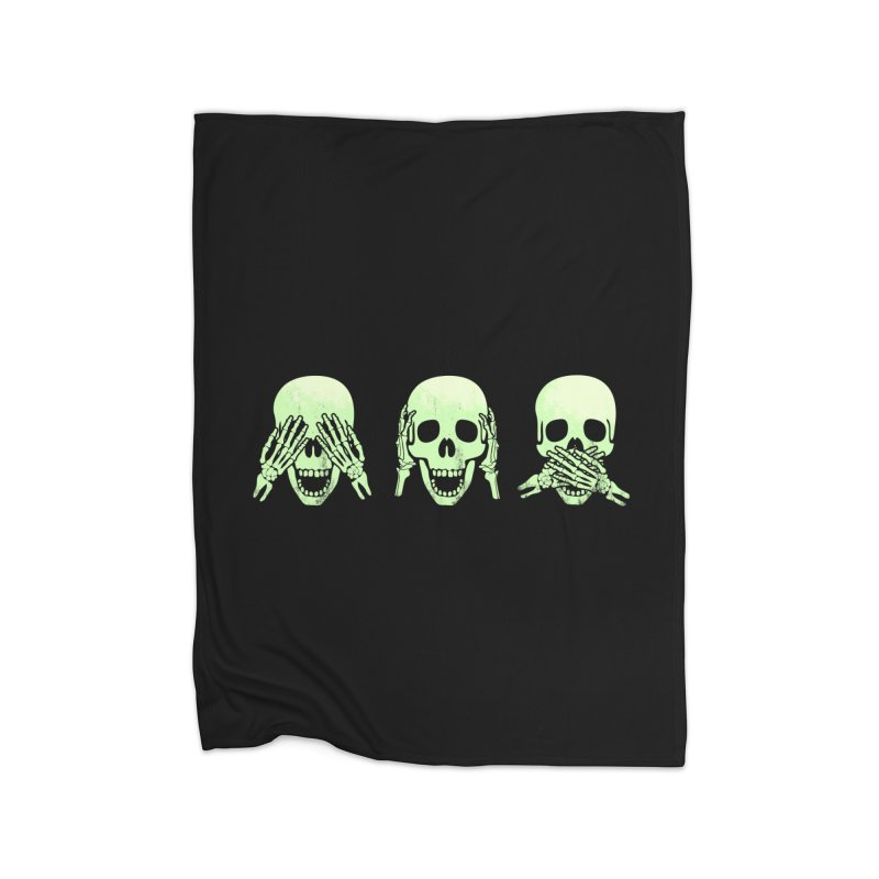 No evil skulls Home Fleece Blanket by Steven Toang