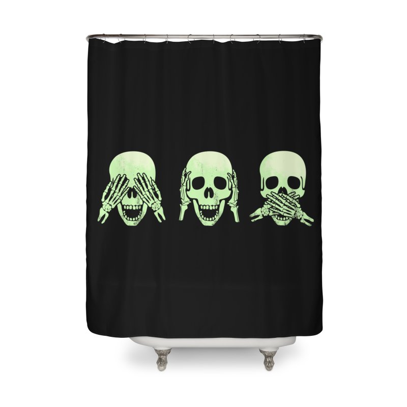 No evil skulls Home Shower Curtain by Steven Toang