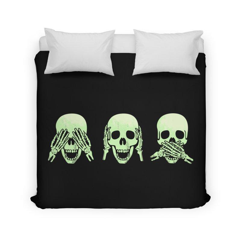 No evil skulls Home Duvet by Steven Toang