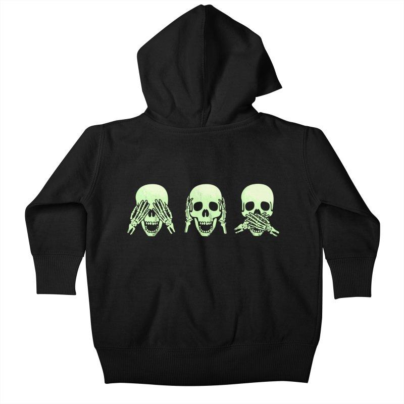 No evil skulls Kids Baby Zip-Up Hoody by Steven Toang
