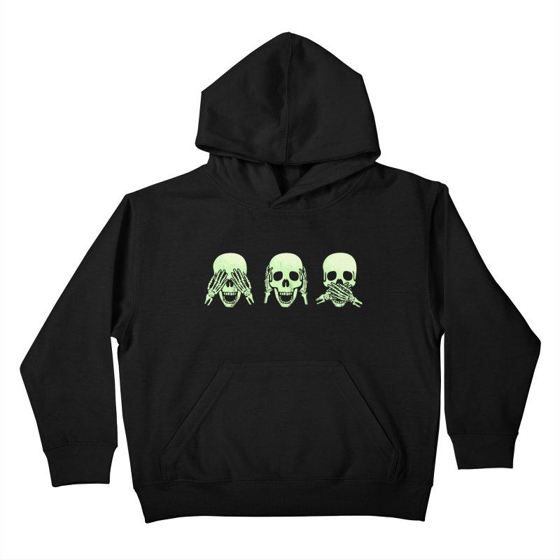 No evil skulls Kids Pullover Hoody by Steven Toang