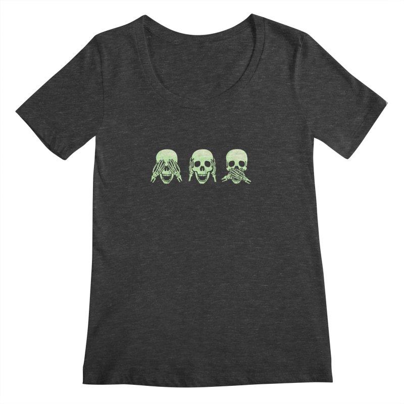 No evil skulls Women's Scoopneck by Steven Toang