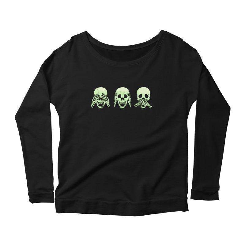 No evil skulls Women's Longsleeve Scoopneck  by Steven Toang