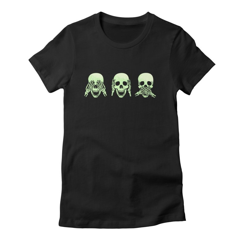 No evil skulls Women's Fitted T-Shirt by Steven Toang