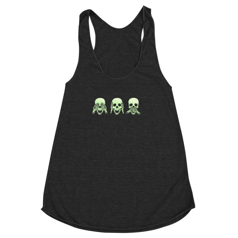 No evil skulls Women's Racerback Triblend Tank by Steven Toang