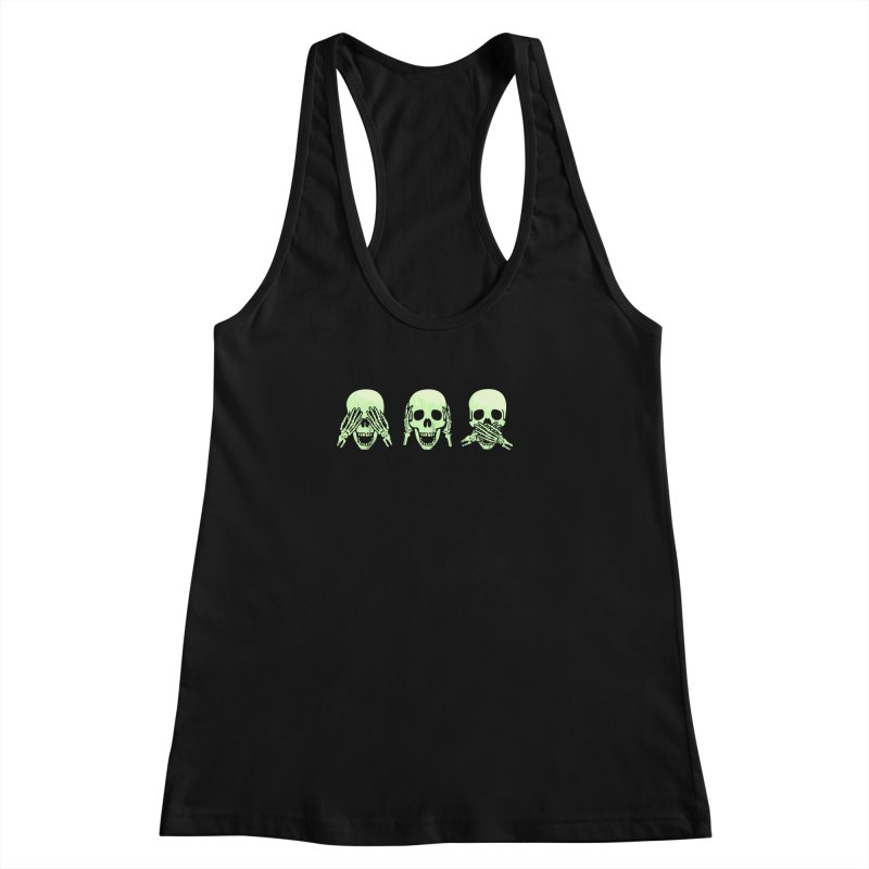 No evil skulls Women's Racerback Tank by Steven Toang
