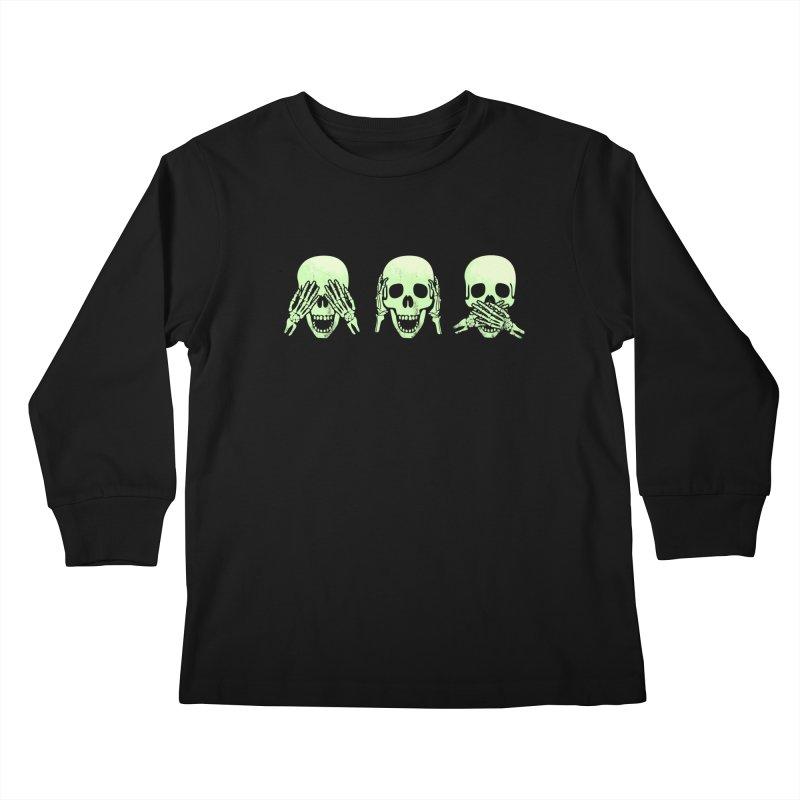 No evil skulls Kids Longsleeve T-Shirt by Steven Toang
