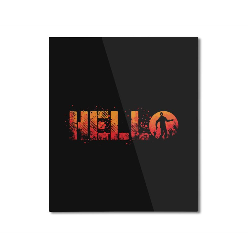 HELLO Home Mounted Aluminum Print by Steven Toang