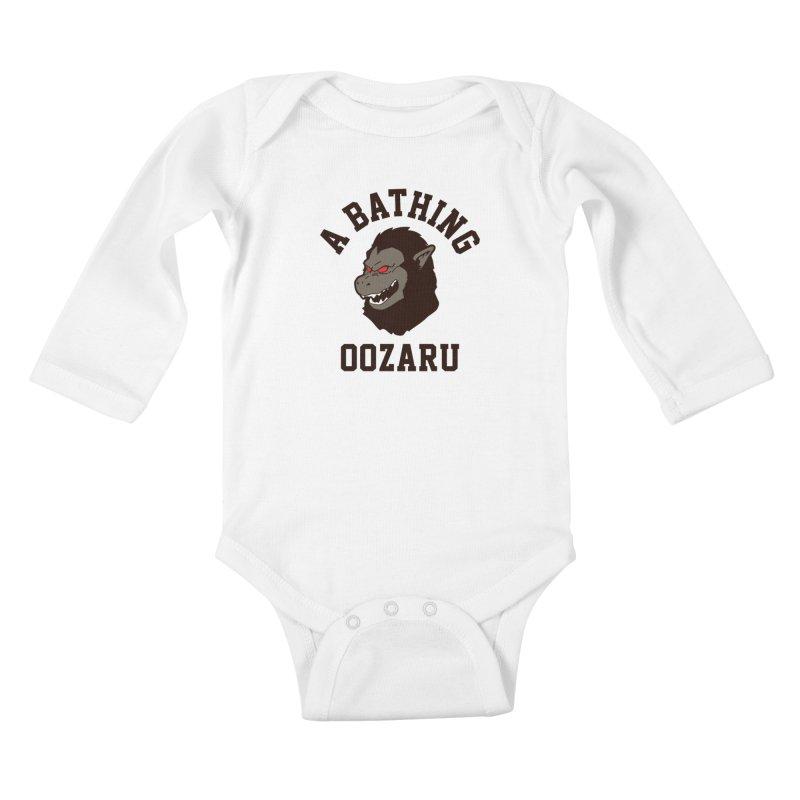 A Bathing Oozaru Kids Baby Longsleeve Bodysuit by Steven Toang