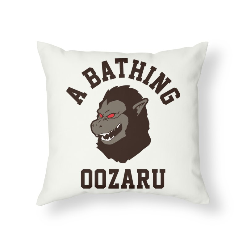 A Bathing Oozaru Home Throw Pillow by Steven Toang