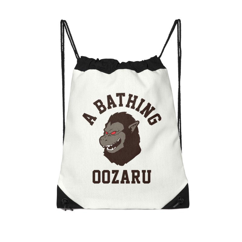 A Bathing Oozaru Accessories Drawstring Bag Bag by Steven Toang