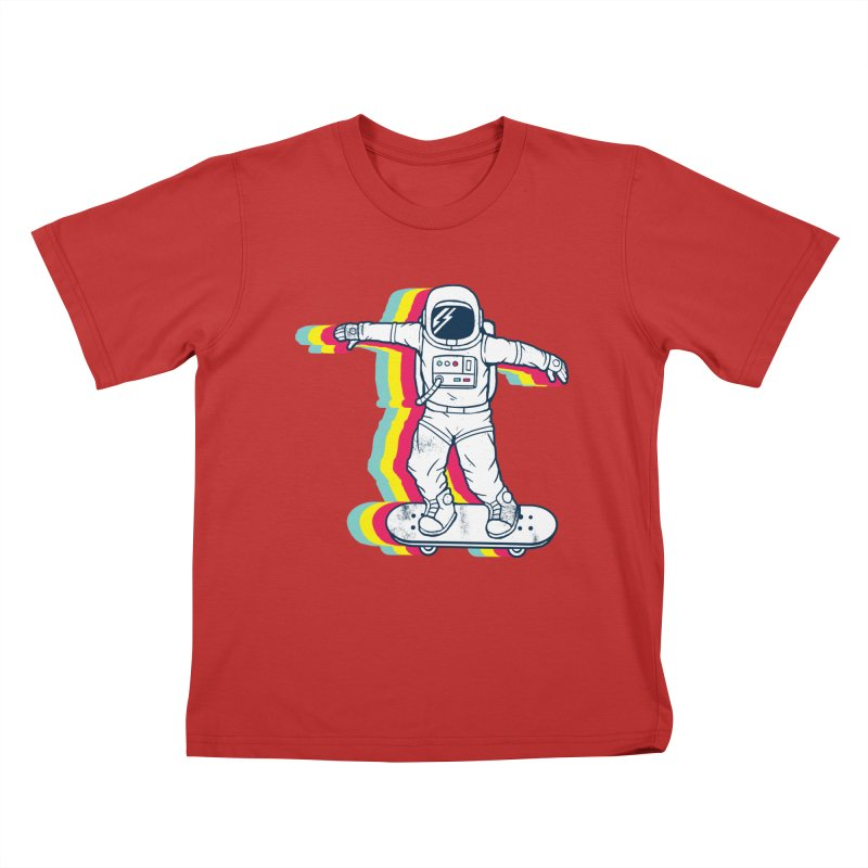 Spaceboarding Kids T-Shirt by Steven Toang