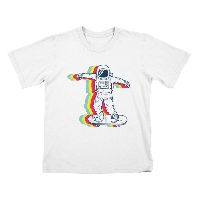 Spaceboarding Kids T-Shirt by Steven Toang
