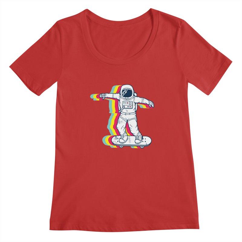 Spaceboarding Women's Regular Scoop Neck by Steven Toang