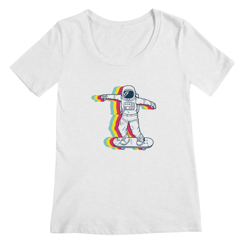 Spaceboarding Women's Regular Scoop Neck by Steven Toang