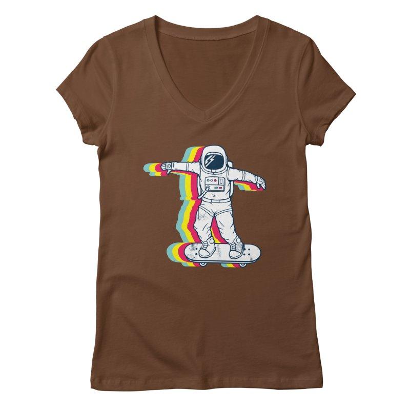 Spaceboarding Women's Regular V-Neck by Steven Toang