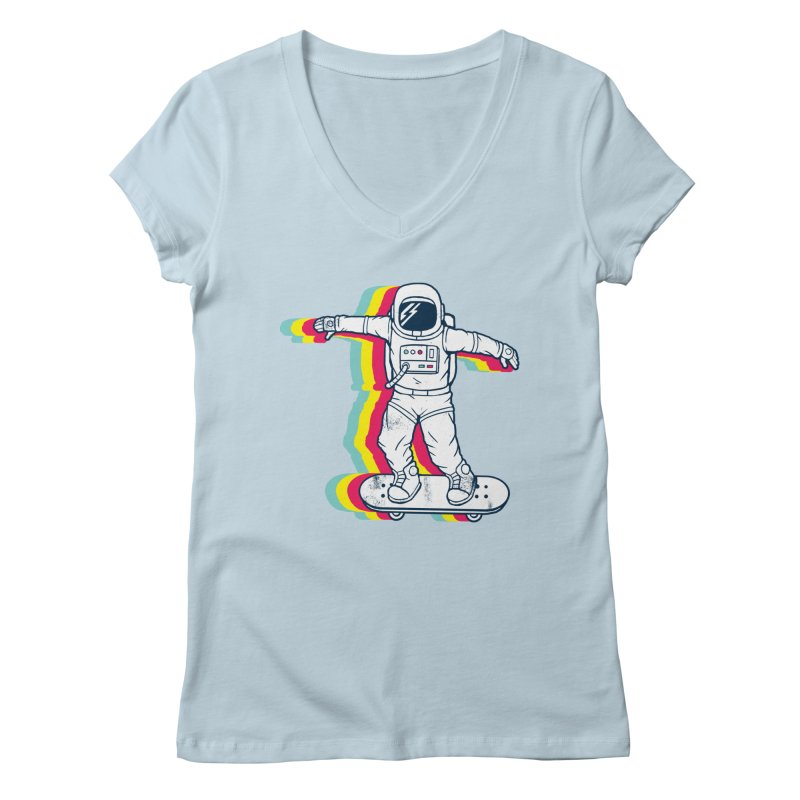Spaceboarding Women's Regular V-Neck by Steven Toang