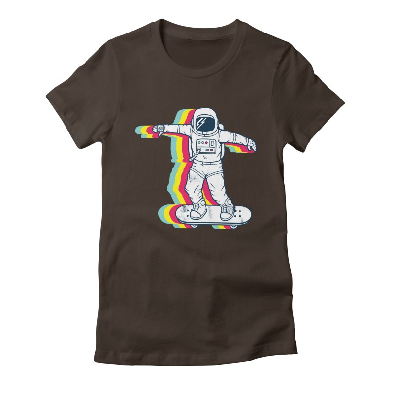 Spaceboarding Women's Fitted T-Shirt by Steven Toang