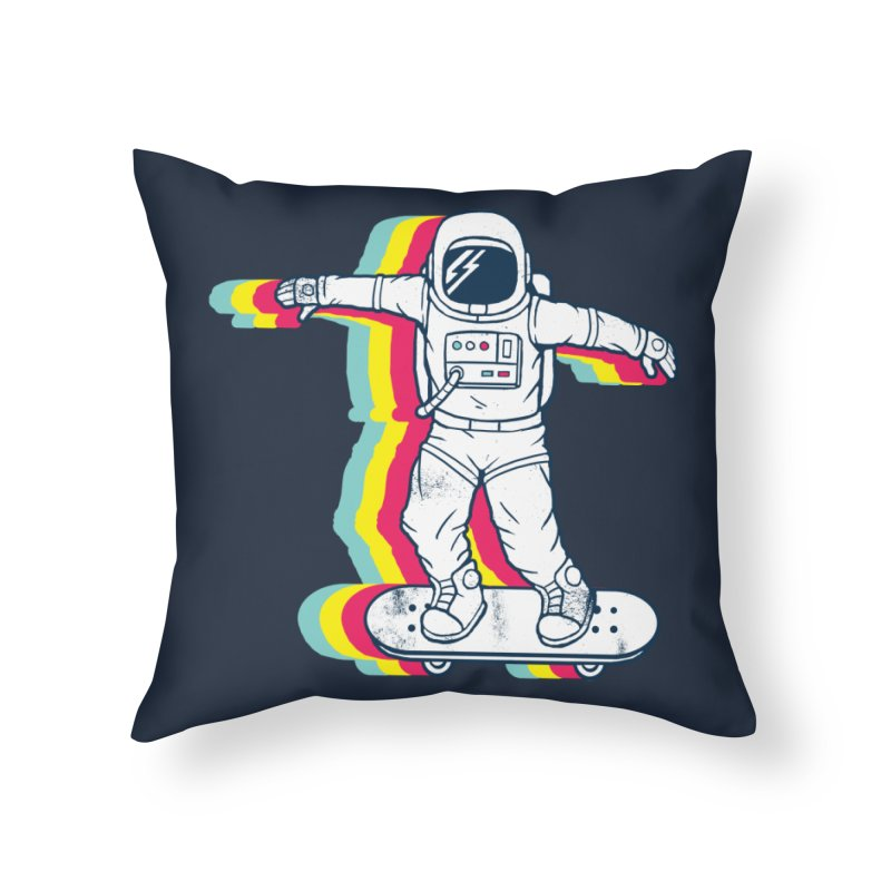 Spaceboarding Home Throw Pillow by Steven Toang