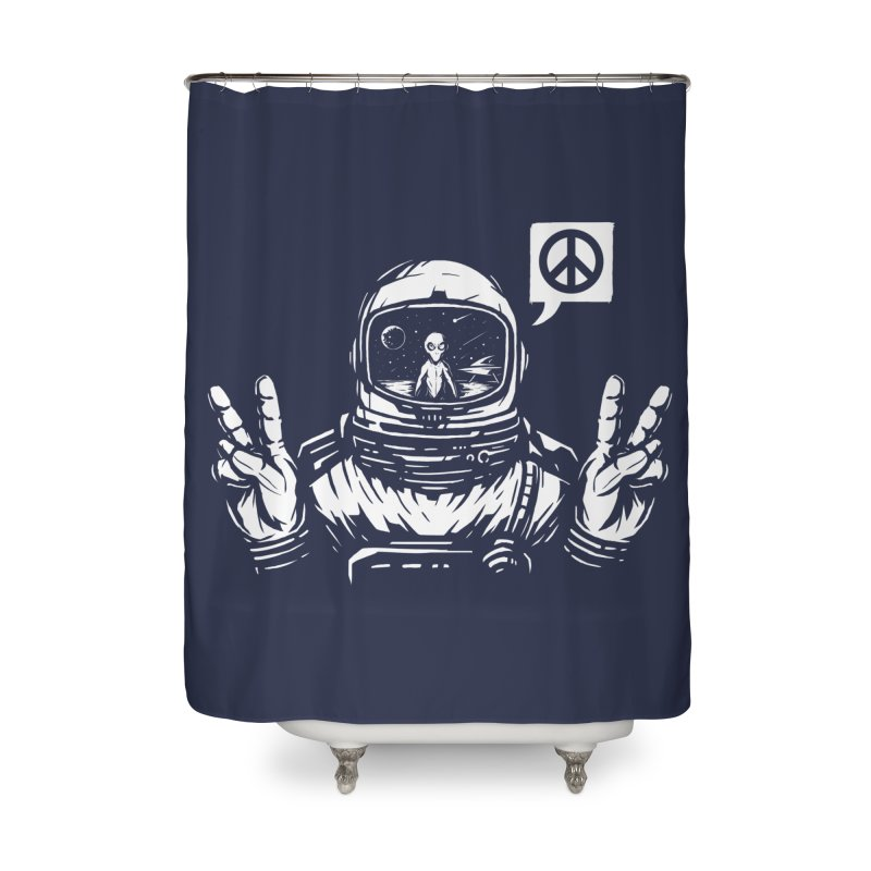 We came in peace Home Shower Curtain by Steven Toang