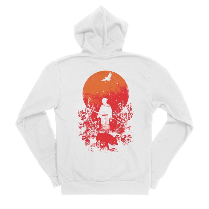 Red Sun Men's Sponge Fleece Zip-Up Hoody by Steven Toang