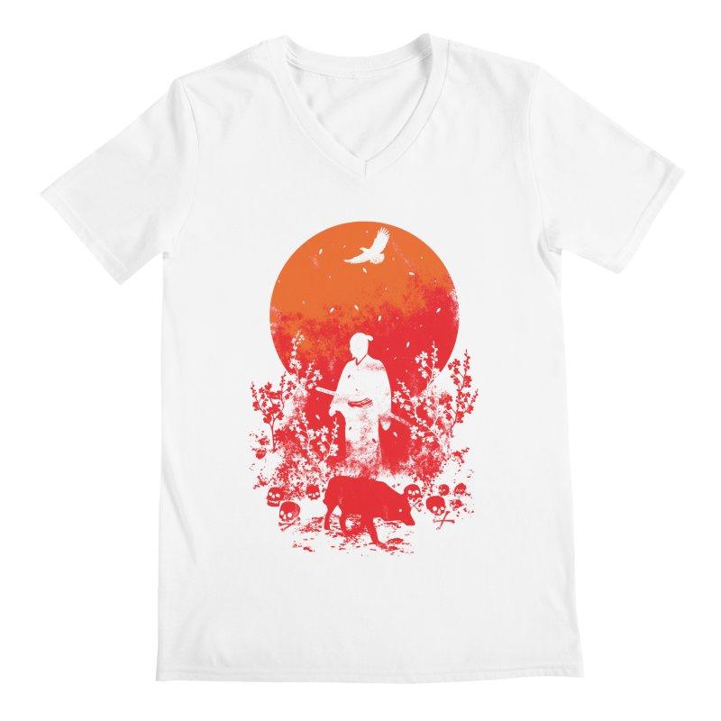 Red Sun Men's V-Neck by Steven Toang