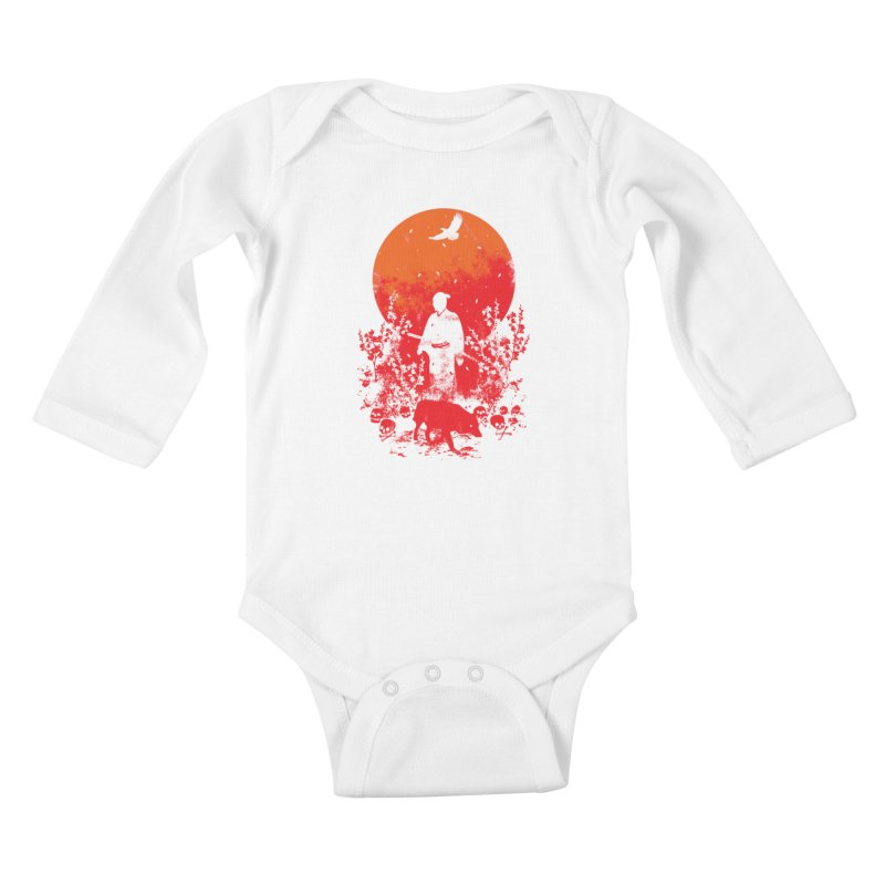 Red Sun Kids Baby Longsleeve Bodysuit by Steven Toang