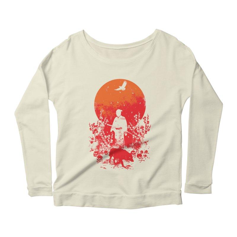 Red Sun Women's Scoop Neck Longsleeve T-Shirt by Steven Toang