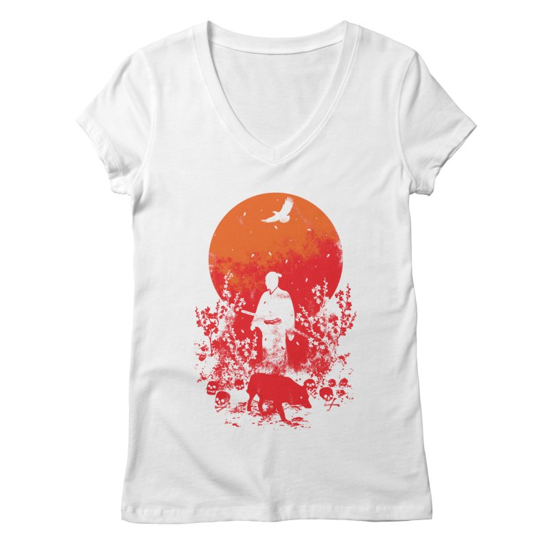 Red Sun Women's Regular V-Neck by Steven Toang