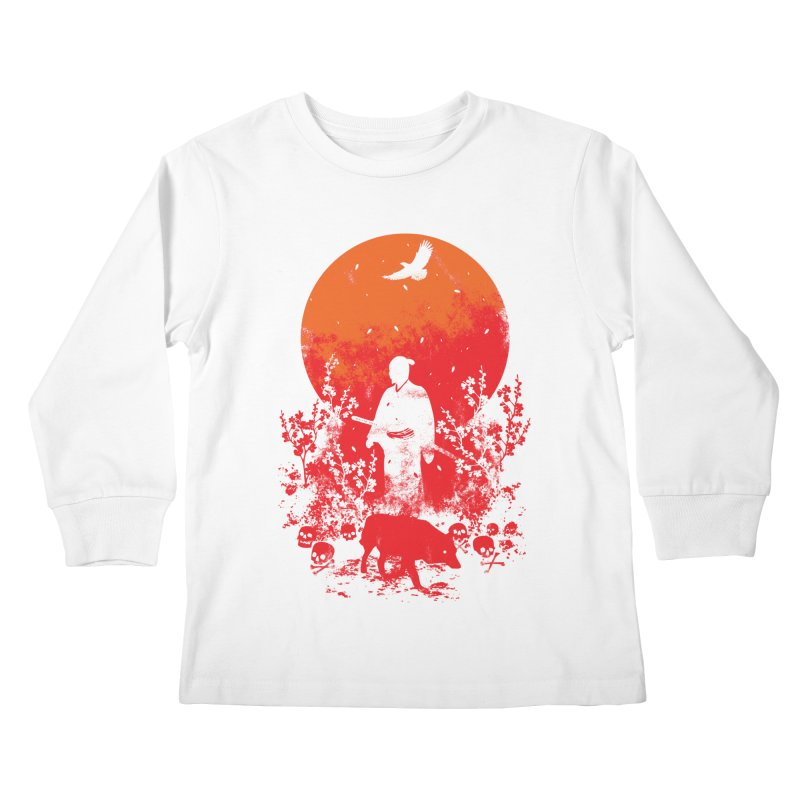 Red Sun Kids Longsleeve T-Shirt by Steven Toang