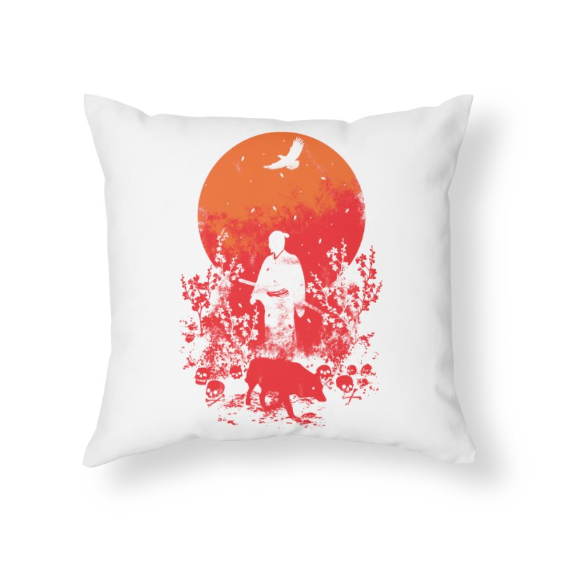 Red Sun Home Throw Pillow by Steven Toang