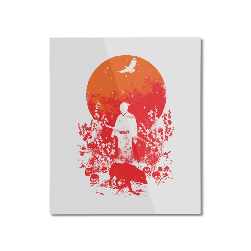 Red Sun Home Mounted Aluminum Print by Steven Toang