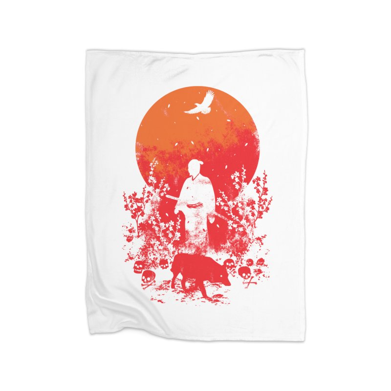 Red Sun Home Fleece Blanket Blanket by Steven Toang