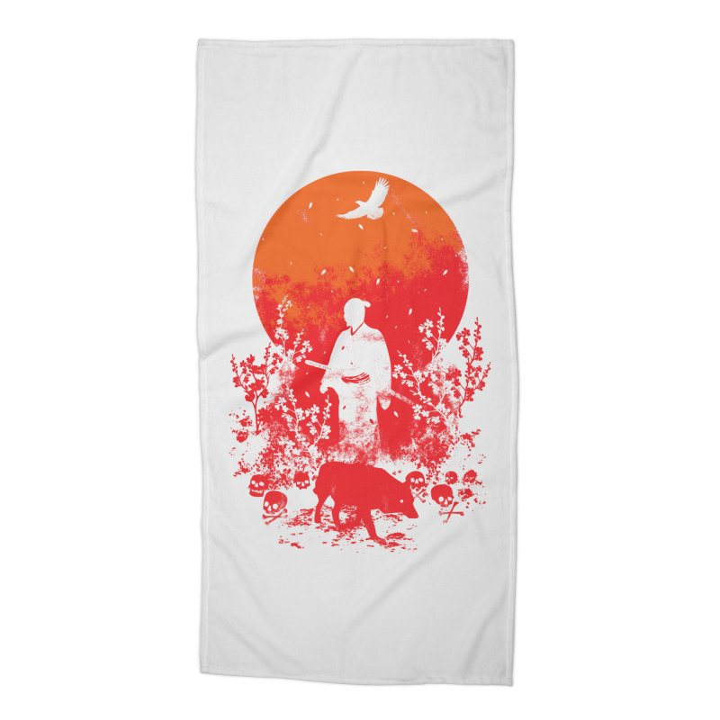 Red Sun Accessories Beach Towel by Steven Toang