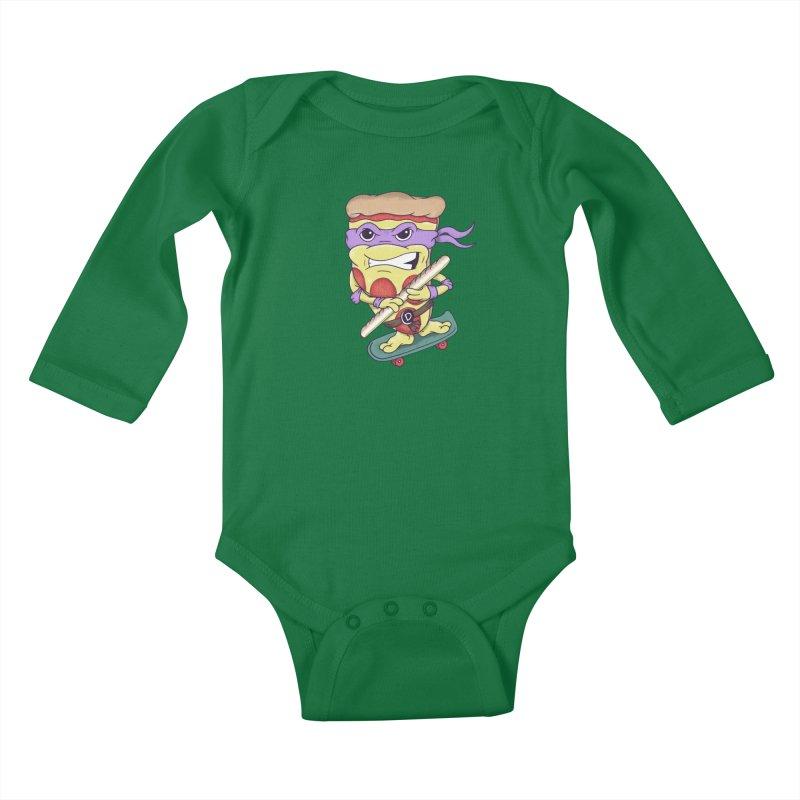 Pizza Donny Kids Baby Longsleeve Bodysuit by SteveOramA