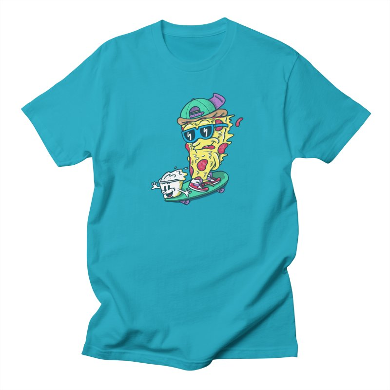 Pizza and Ranch in Men's Regular T-Shirt Cyan by SteveOramA