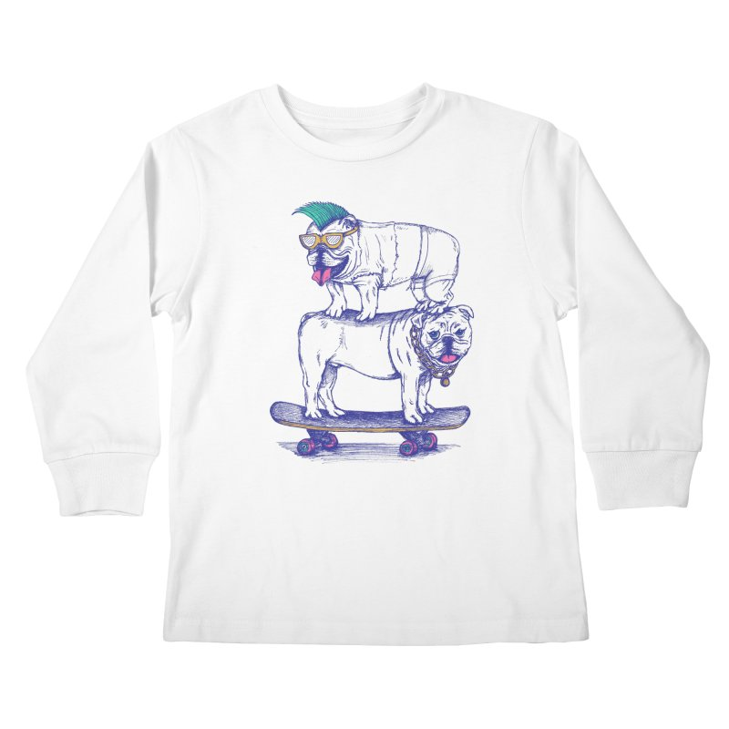 Double Dog Dare Kids Longsleeve T-Shirt by SteveOramA