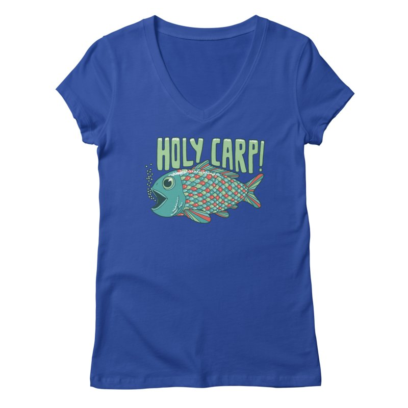 Holy Carp Women's Regular V-Neck by SteveOramA