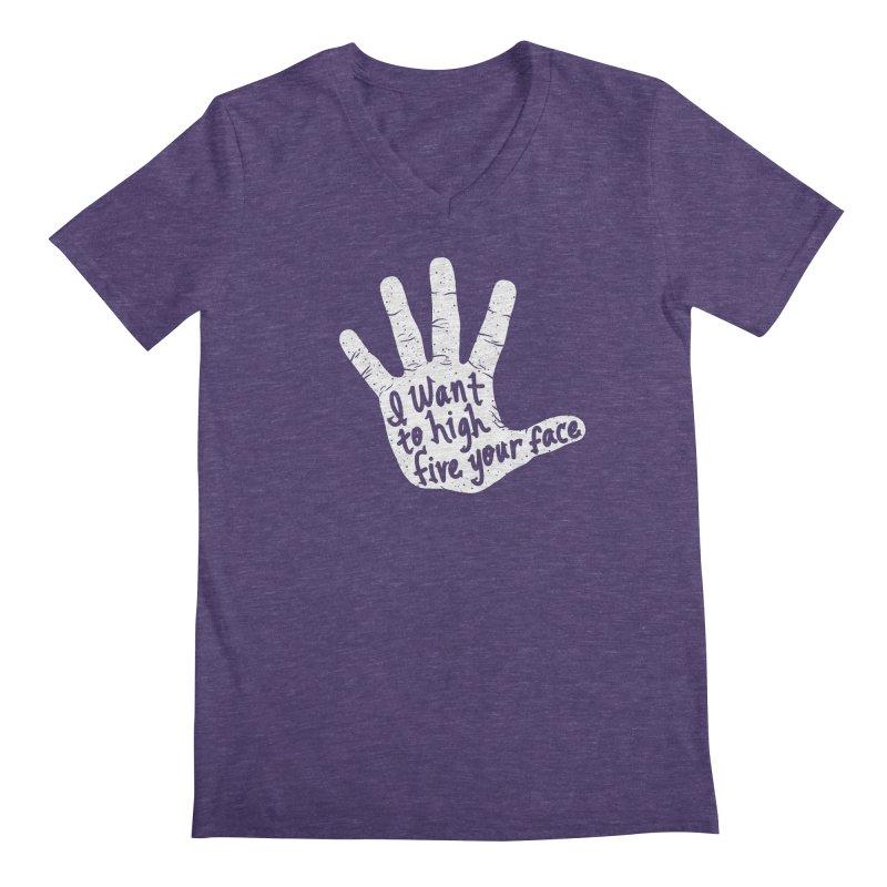 Hand to Face Men's Regular V-Neck by SteveOramA