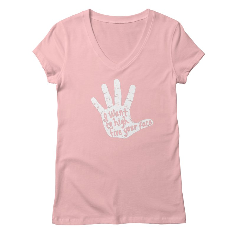 Hand to Face Women's V-Neck by SteveOramA