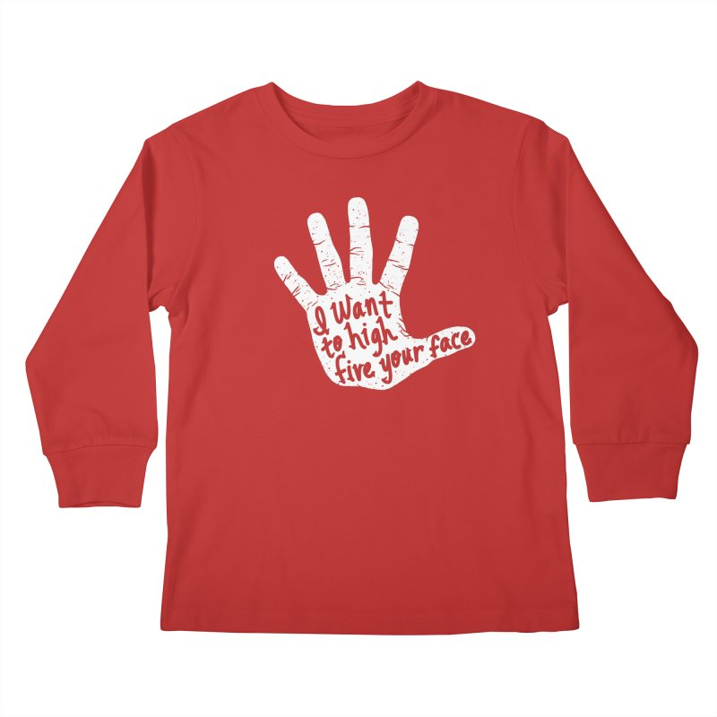 Hand to Face Kids Longsleeve T-Shirt by SteveOramA